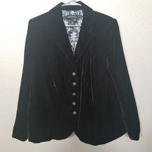 Lane Bryant Fully Lined Black Velvet Blazer
